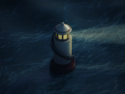 Lighthouse in the Dark cinema 4d c4d isometric night sea lighthouse