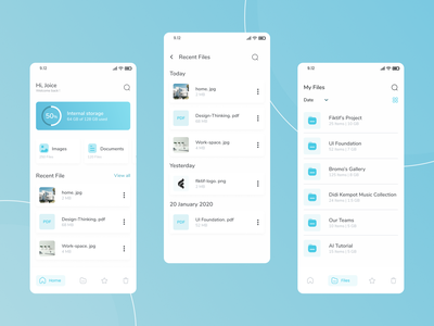 File Manager Mobile Apps user interface design user interface file management ui design folders dailyui file sharing file manager files figma mobile app uidesign ui mobile clean app