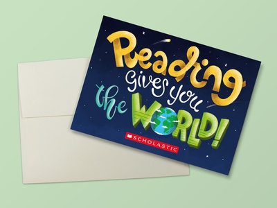 Reading Gives You The World Note Card