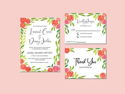 Watercolor Wedding Card Invitation cute design illustration adobe illustrator flower typography adobestock vintage card wedding vector watercolor graphic design
