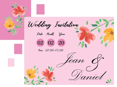 Watercolor Handmade for Wedding Invitation Card