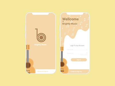Brightly Music Login Form ux ui mockup ux ui design uiux uidesign ux ui ui mobile ui mobile design mobile app design mobile app login indonesia design branding android ui android app design android