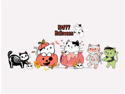 Happy Halloween, cat party halloween party halloween cartoon cute illustration cute animal happiness cute cat vector illustration character design drawing cat doodle