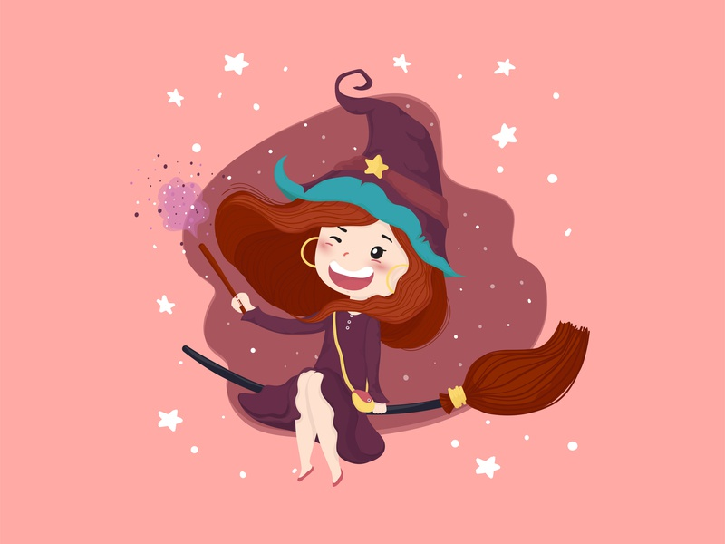 Happy witch wand flat vector witchy witch costumes halloween vector happy illustration cute girl girl character character design