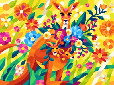Kangaroos yellow colorful flowers motherhood mothersday mom mother kangaroo spring vector summer flatdesign game illustration gallery coloring book vector illustration illustration
