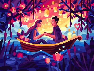 Romantic boat flowers boat cartoon romantic font date romantic boat valentinesday love couple dream vector flatdesign gallery coloring book game illustration vector illustration illustration