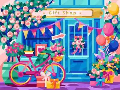 Gift Shop street shop window window shop gift shop gifts art girl bicycle bike balloons spring summer flowers vector flatdesign game illustration gallery coloring book vector illustration illustration