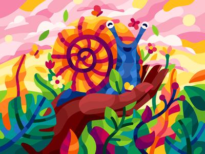 Cute friend nature hand earthday snail spring summer flowers flatdesign vector game illustration gallery coloring book vector illustration illustration
