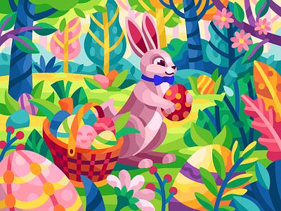 Easter rabbit easter bunny rabbit cartoon characters cartoon easter eggs easter easter rabbit forest spring flatdesign vector game illustration gallery coloring book vector illustration illustration