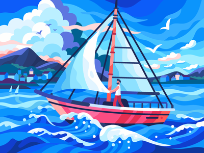 Sail boat clouds seagulls vector illustration vector summer seaside seacoast sea sailor sailboat illustration game illustration gallery flat design dream coloring book boat freshness