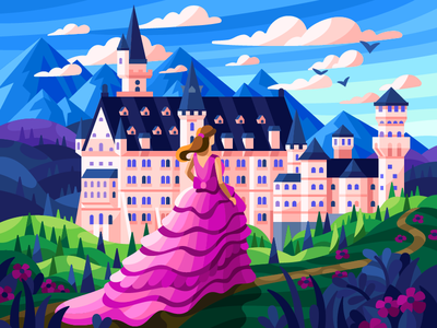 Neuschwanstein Castle romantic gorgeous pink dress princess girl castle spring flowers summer vector game illustration gallery coloring book vector illustration illustration