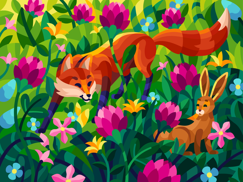 Cunning hunter big flowers wild life cute animal rabbit glade cartoon characters meadow hare fox hunter flatdesign vector illustration game illustration gallery coloring book illustration