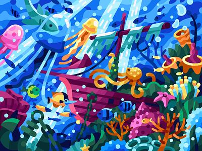 Life under water poster art fish seabed sea bottom anchor jellyfish octopus sea creatures sealife sunken ship ocean life underwater vector gallery vector illustration game illustration coloring book illustration