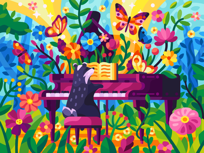 Forest melody butterflies flowers garden childish cartoon plants forest music summer spring piano badger game art coloring book gallery beresnevgames flatdesign vector illustration game illustration