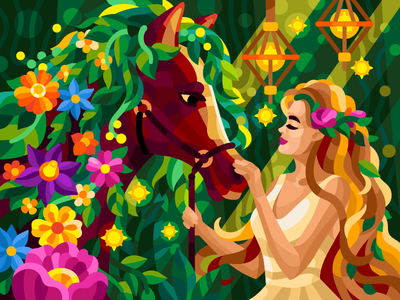 Flowering horse fairy elf forest magic horse racing equine forest romantic beautiful girl bloom flowering forest horse horse flowers summer vector illustration game illustration coloring book