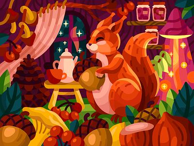 Squirrel's home cartoon character squirrel cartoon nuts squirrel forest vector vector illustration illustration game illustration gallery coloring book