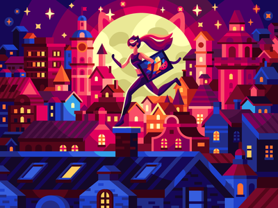 Night lights towers thief moon blue purple vectorart colorful illustration city roofer roofs cat woman night city night flatdesign illustration game illustration coloring book
