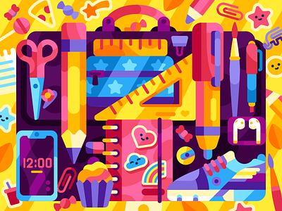 School bag school supplies airpods snickers stickers pencil notebook case school schoolbag coloring book vector vector illustration game illustration illustration flatdesign
