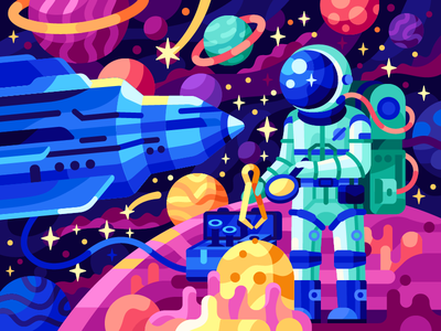 Discovering a New planet mars flat game cosmonaut rocket outer space space shuttle spaceman astronomy vector stars spaceship astronaut skyline space planets galaxy