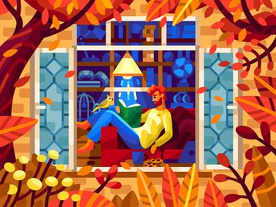 Time for reading cozy place sofa flatdesign october cozyhome fall autumnmood autumnillustration autumnleaves cozy readingtime reading vectorillustraion colorfulillustration gamedesign gallerythegame vectorillustration