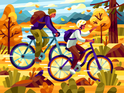 Friends activities park flatdesign coloring book yellow leaves warm autumn gallerygame bikers forest autumn autumn park yellow trees vector together fall bicycle bike riding friends vector illustration
