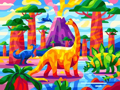 Dinosaurs gameillustration cartooncharacters vectorart childishillustrations prehistoric paleontology evolution volcano pterodactyl stegosaurus ndiplodocus brontosaurus jurassicworld jurassicpark baobabs dinosaurs flatdesign gallerythegame vectorillustration
