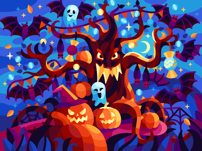 Scary tree beresnevgames gallerygame funny horrible ghostly eerie dreadful darkness 2020 autumn illustration halloween party candies bats gost pumpkins scary scary tree helloween halloween