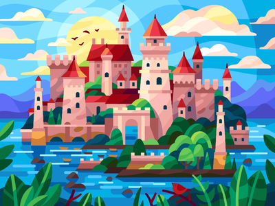 Island castle forest flatdesign vector clouds boats harbor sunrise sunset island stronghold fort fortress castle gallery coloring book vector illustration game illustration illustration