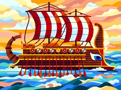 Ancient vessel sea trireme galley greek ship boat ancient vessel flatdesign vector vector illustration coloring book illustration