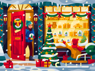 Christmas gift shop graphic design moment magic children toys windows snowglobe brothers holidays xmas giftshop christmas gifts flatdesign vector gallery coloring book game illustration vector illustration illustration