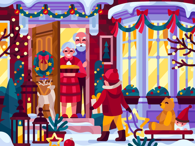 Family meeting 2020 new year christmas livingness winter decor home snow winter grandchild grandparents family meeting vector gallery coloring book game illustration vector illustration illustration