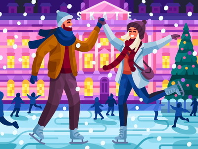 London Ice skating winteroutfit gallerythegame london ice rink ice rink leisure winter in london winter date boy and girl couple skate iceskating london game illustration vector illustration illustration