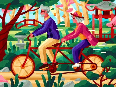Riding bike together gallery vector spring activities bike bicycle ride tandem bike couple elderly chinese park parks vector illustration walk illustration game illustration coloring book sakura