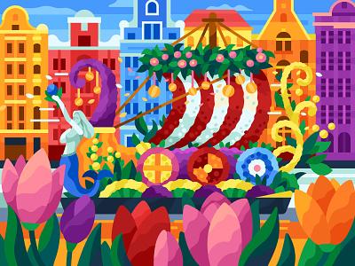Dutch Flower Parade flower ship flower parade flowers amsterdam netherlands coloring book vector gallery game illustration vector illustration illustration