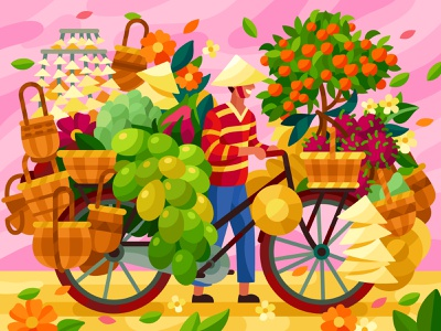 Asian delivery market street food market bicycle bike delivery asian flowers flatdesign vector gallery coloring book game illustration vector illustration illustration