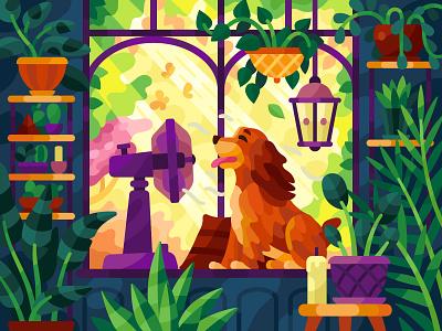 Сocker spaniel in a sunny day lady cute terrace plants beresnevgames vector ventilator fan hot summer dog spaniel cocker spaniel flatdesign gallery coloring book game illustration vector illustration illustration