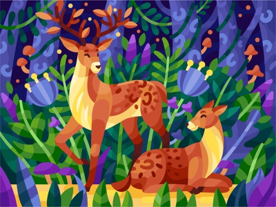Deer pbn vector summer flowers coloring book game illustration illustration vector illustration deer illustration wild cute animals family cute cartoon cartoon character forest deer