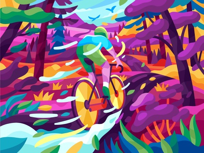 Colorful fast cyclist colorbynumber pbn game dynamic colorful road bicycle bike cyclist motion design flatdesign vector gallery coloring book game illustration vector illustration illustration