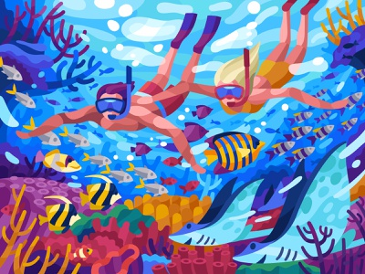 Underwater world colorful coral reefs corals diving snorkeling couple vector illustration illustration fish underwater world red sea