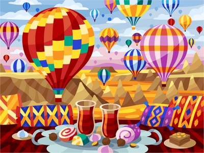Cappadocia air balloons mobile game paintbynumbers graphic design air balloons treat picnic turkey fly balloons hot-air balloon flatdesign vector gallery coloring book game illustration vector illustration illustration