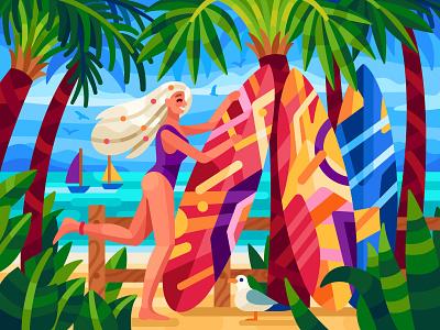 Summer vibes beach sea sunbathing girl surfer surfboard summer vibes ui design flatdesign vector gallery coloring book game illustration vector illustration illustration