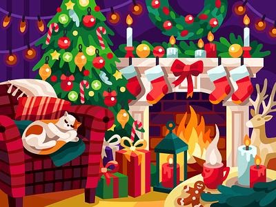Christmas interior christmas tree coloring book deer gingerbread man fareplace gallery game illustration vector illustration vectorart xmas christmas warm home warm place interior christmas interior armchair chair cat fireplace cozy