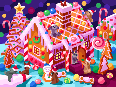 Gingerbread Rabbits' House illustration vector illustrator game illustration christmas candy candy vector illustration graphic design 2020 new year decoration gallerythegame gallery happy rabbits holidays house xmas christmas rabbits gingerbread house gingerbread