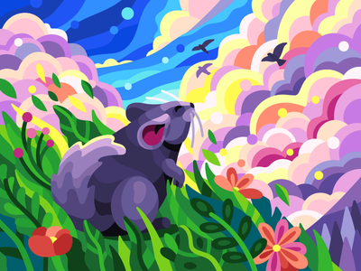 Сhinchilla and freshness breathtaking view fluffy tail fairytale fairy animal mouse cartoon gallery illusration vector summer spring grass meadow fields heavens clouds fresh air chinchilla