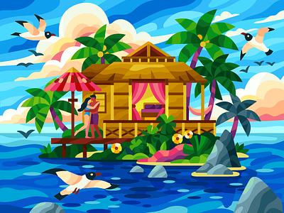 Romantic island in the ocean clouds wild palms romantic honeymoon bungalow sea seagulls ocean island couple flatdesign game illustration gallery coloring book vector illustration illustration