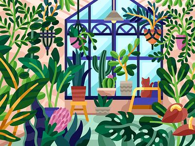 Greenhouse eco hothouse glasshouse freshness plants greenhouse vector flatdesign game illustration gallery coloring book vector illustration illustration