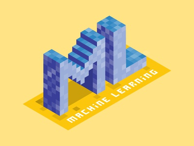 Machine Learning vector sticker design stickers pixel art pixel isometric illustration