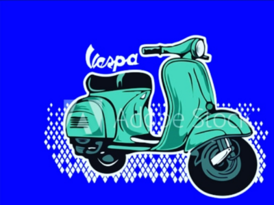 Vintage vector vespa illustration, with turquoise
