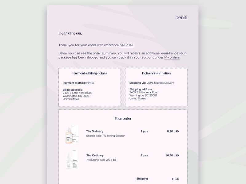 E-mail receipt template