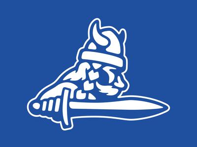 Nordic Ice Logomark man face profile nordic horns helmet logo character battle sword history soldier ice viking